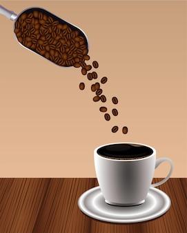 Cartaz de bebida de café delicioso com colher de pá de xícara e sementes