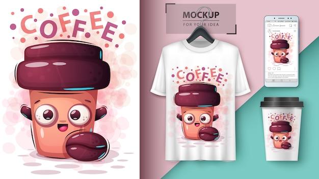 Cartaz de bebida de café e merchandising