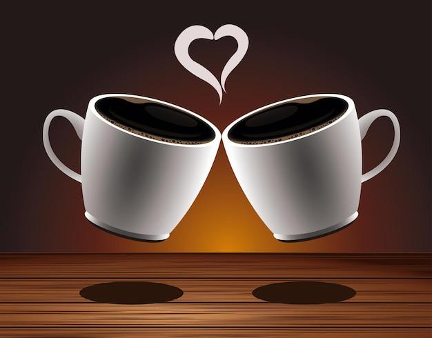 Cartaz de bebida deliciosa de café com copos e coração em mesa de madeira