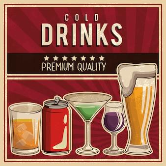 Cartaz de bebidas vintage