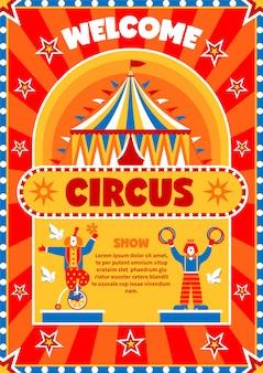 Cartaz de boas-vindas da mostra de circo