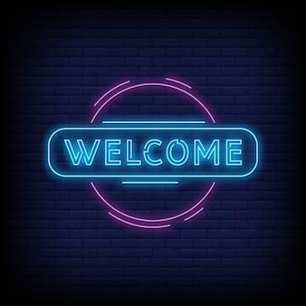 Cartaz de boas vindas em estilo neon