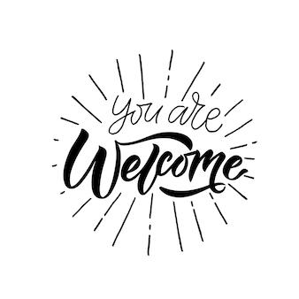 Cartaz de boas-vindas escrito à mão no fundo mão esboçada letras de boas-vindas tipografia de carta de boas-vindas