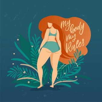 Cartaz de bodypositive com mão na moda desenhada letras meu corpo mu regras. garota com cabelo bonito num contexto de folhas e plantas verdes. personagens femininas. citações do feminismo