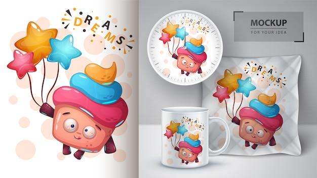 Cartaz de bolo de sonho e merchandising