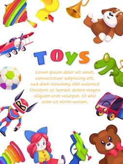 Cartaz de brinquedos de crianças. criança brinquedo brochura design da capa pirâmide piano chocalho carro coelho pato, modelo plana