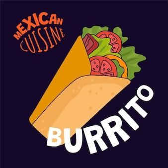 Cartaz de burrito mexicano restaurante fast food café ou restaurante banner de publicidade da américa latina