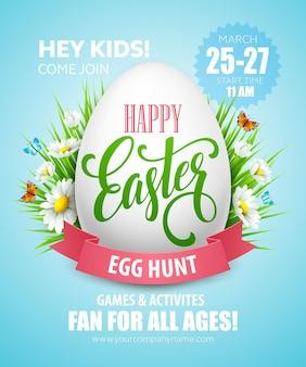 Cartaz de caça ao ovo de páscoa.