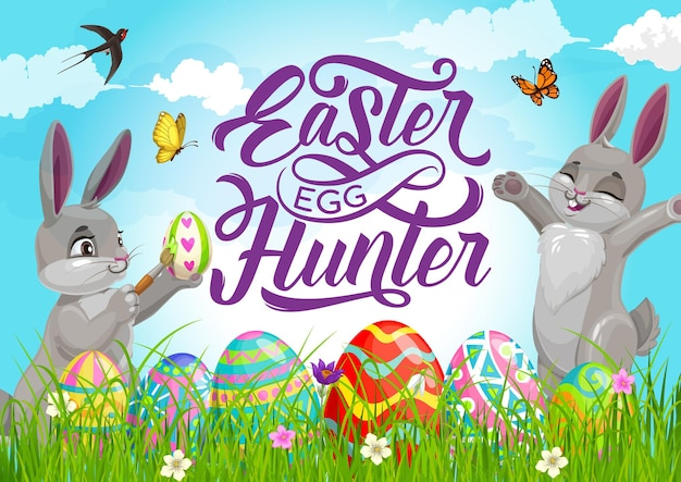 Cartaz de caça aos ovos de feriado de páscoa feliz com coelhos de desenho animado