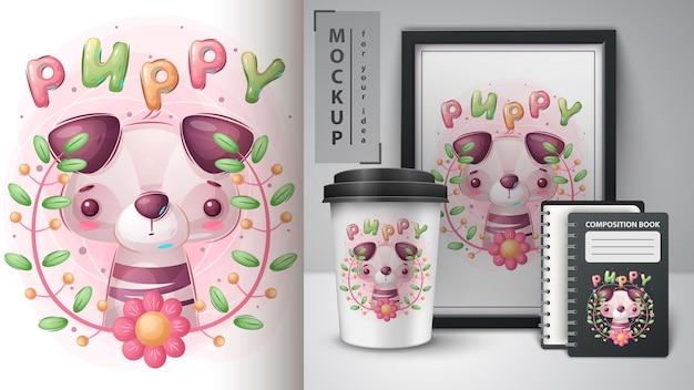 Cartaz de cachorro fofo e merchandising vetor eps 10