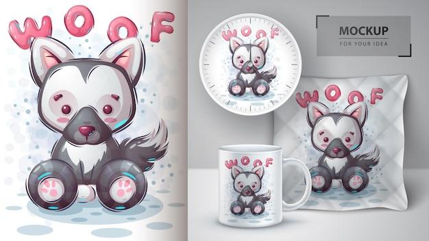 Cartaz de cachorro woof e merchandising