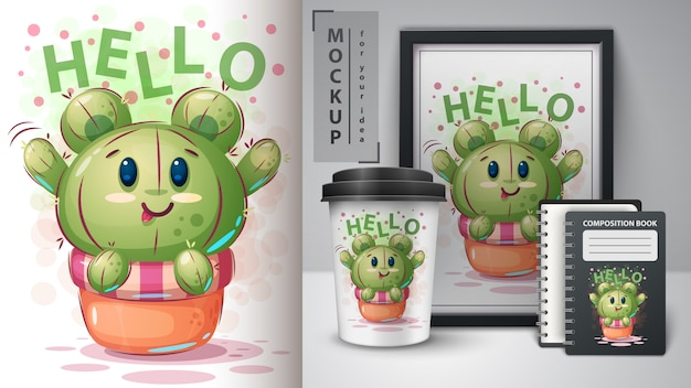 Cartaz de cacto de urso e merchandising