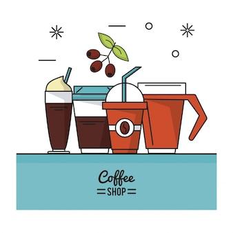 Cartaz de café com diferentes bebidas com café