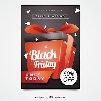 Cartaz de caixa de presente de sexta feira preta
