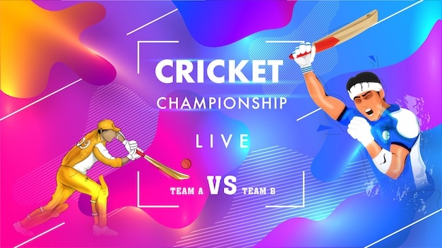 Cartaz de campeonato de críquete ao vivo