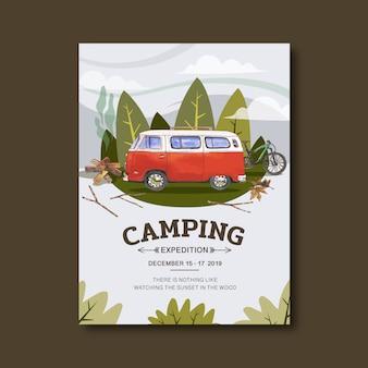 Cartaz de campismo com ilustração de van