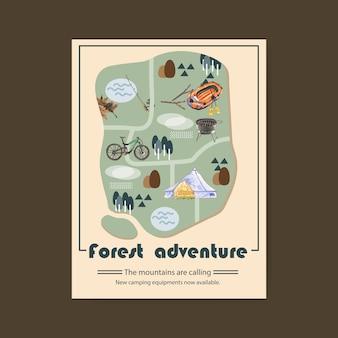 Cartaz de campismo com ilustrações de vara, bicicleta, fogão de grelha e tenda