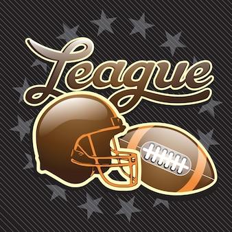 Cartaz de capacete de futebol americano em fundo preto ilustração vetorial