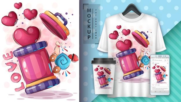 Cartaz de caracol de amor e merchandising