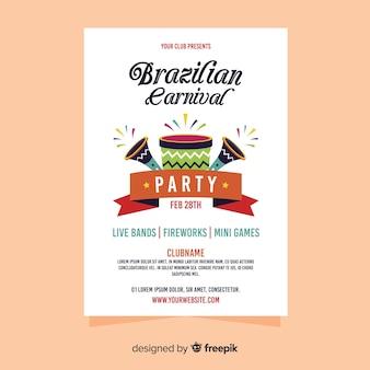 Cartaz de carnaval brasileiro de instrumentos