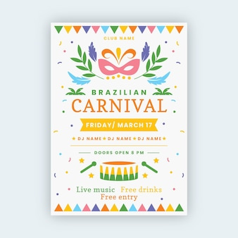 Cartaz de carnaval brasileiro desenhado à mão