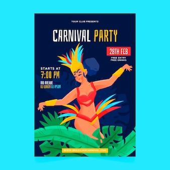 Cartaz de carnaval brasileiro desenhado de mão com mulher a dançar