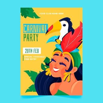 Cartaz de carnaval brasileiro desenhado de mão com mulher e pássaro