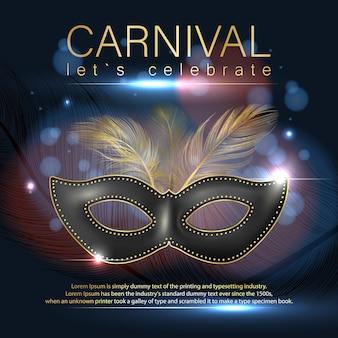 Cartaz de carnaval com máscara realista.