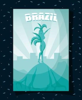 Cartaz de carnaval do brasil com silhueta linda garota