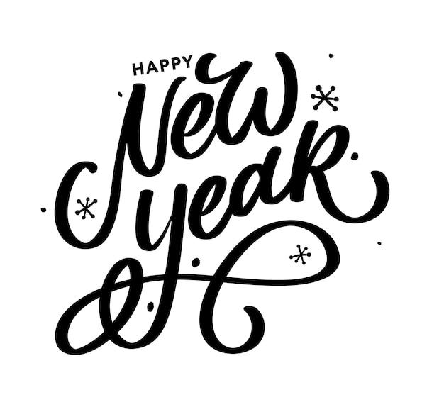 Cartaz de cartão bonito feliz ano novo com fogos de artifício de ouro palavra caligrafia texto preto.