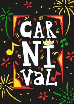 Cartaz de cartão de convite anual festival de carnaval brasil com ilustração em vetor abstrato preto serpentina colorida fogos de artifício