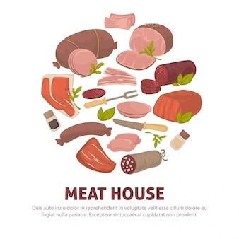 Cartaz de casa de carne de ícones de delicatessen de carne e salsichas