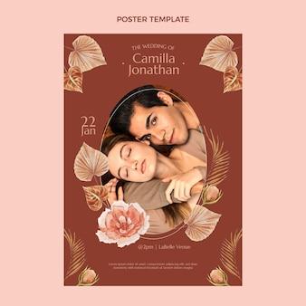 Cartaz de casamento floral em aquarela boho
