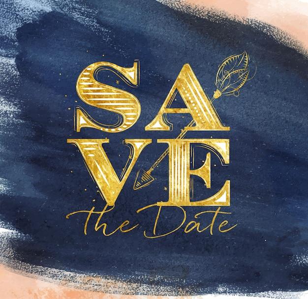 Cartaz de casamento letras salvar o desenho de data