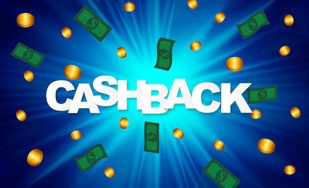 Cartaz de cashback de dinheiro com moedas de dólar de ouro