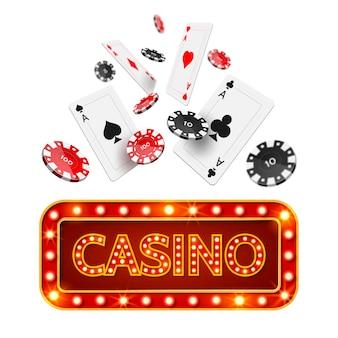Cartaz de cassino de pôquer realista de vetor