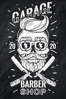 Cartaz de caveira hipster de barbearia
