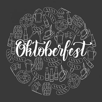 Cartaz de celebração da oktoberfest com copo colorido de cerveja desenhado à mão