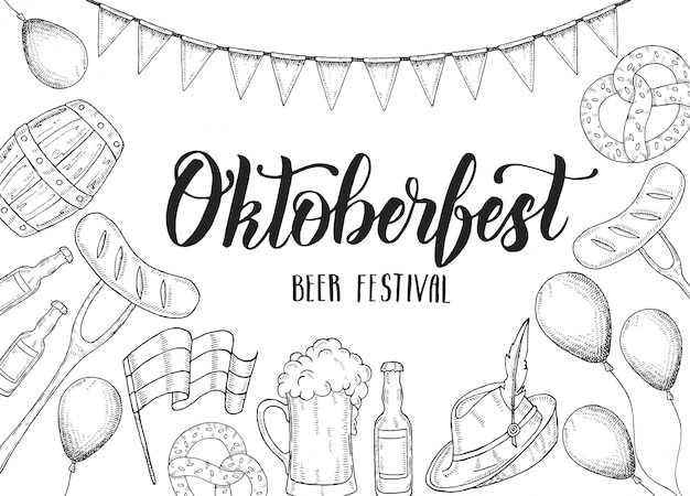 Cartaz de celebração da oktoberfest com copo de cerveja de doodle desenhado à mão