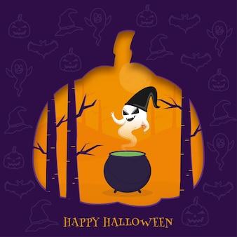 Cartaz de celebração de feliz dia das bruxas com desenho fantasma usar chapéu de bruxa e caldeirão em fundo de floresta de corte de papel.