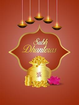 Cartaz de celebração de shubh dhanteras com pote criativo de moedas de ouro