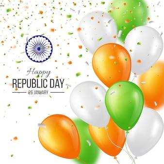 Cartaz de celebração do dia da república do índio feliz ou fundo de banner, cartão. três balões coloridos com confete. ilustração vetorial.