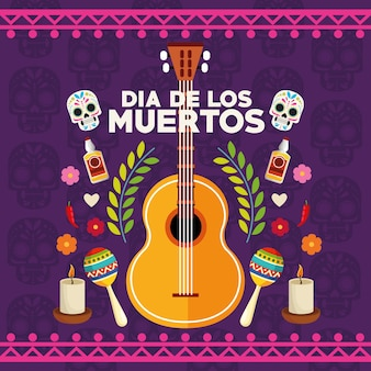 Cartaz de celebração do dia de los muertos com casal de crânios e conjunto de ícones ilustração vetorial design