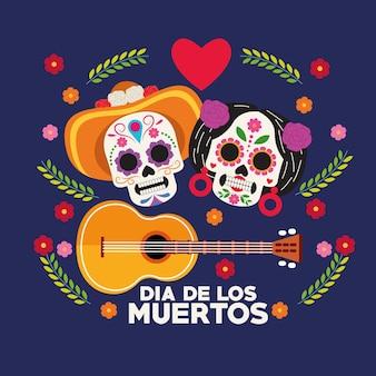 Cartaz de celebração do dia de los muertos com casal de crânios e desenho de ilustração vetorial de guitarra