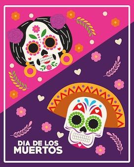 Cartaz de celebração do dia de los muertos com desenho de ilustração vetorial de flores e casal de crânios