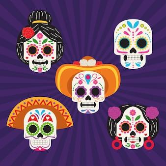 Cartaz de celebração do dia de los muertos com desenho de ilustração vetorial do grupo de cabeças de crânios