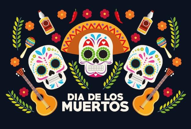 Cartaz de celebração do dia de los muertos com grupo de cabeças de crânios e design de ilustração vetorial de guitarras
