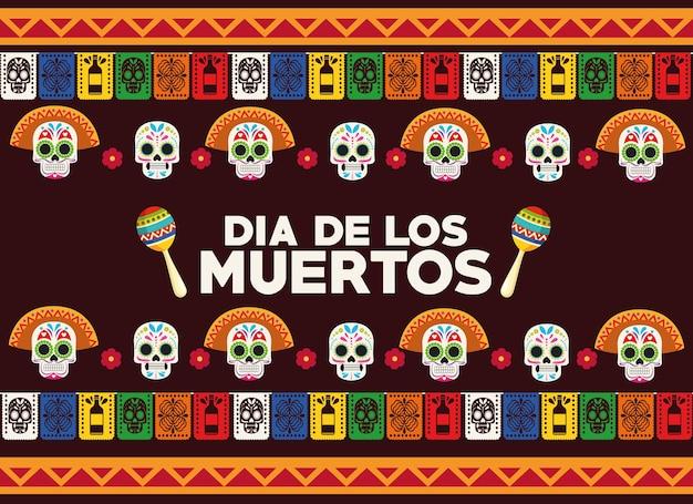Cartaz de celebração do dia de los muertos com grupo de cabeças de crânios e ilustração vetorial de maracas.