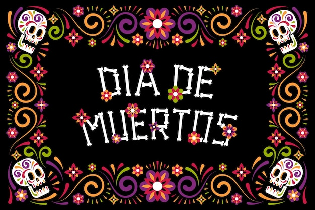 Cartaz de celebração do dia dos mortos com caveira de açúcar e flores moldura floral dia de los muertos