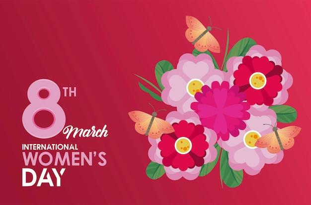 Cartaz de celebração do dia internacional da mulher com ilustração de borboletas e jardim de flores